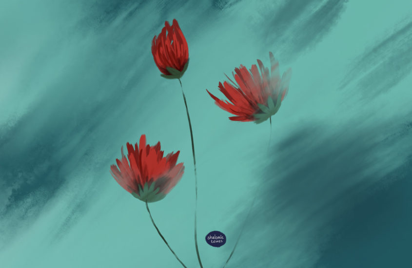 red flowers on green background watercolour