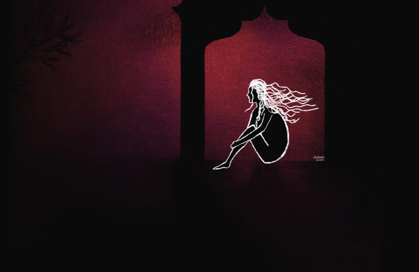 silhouette of woman under an arch