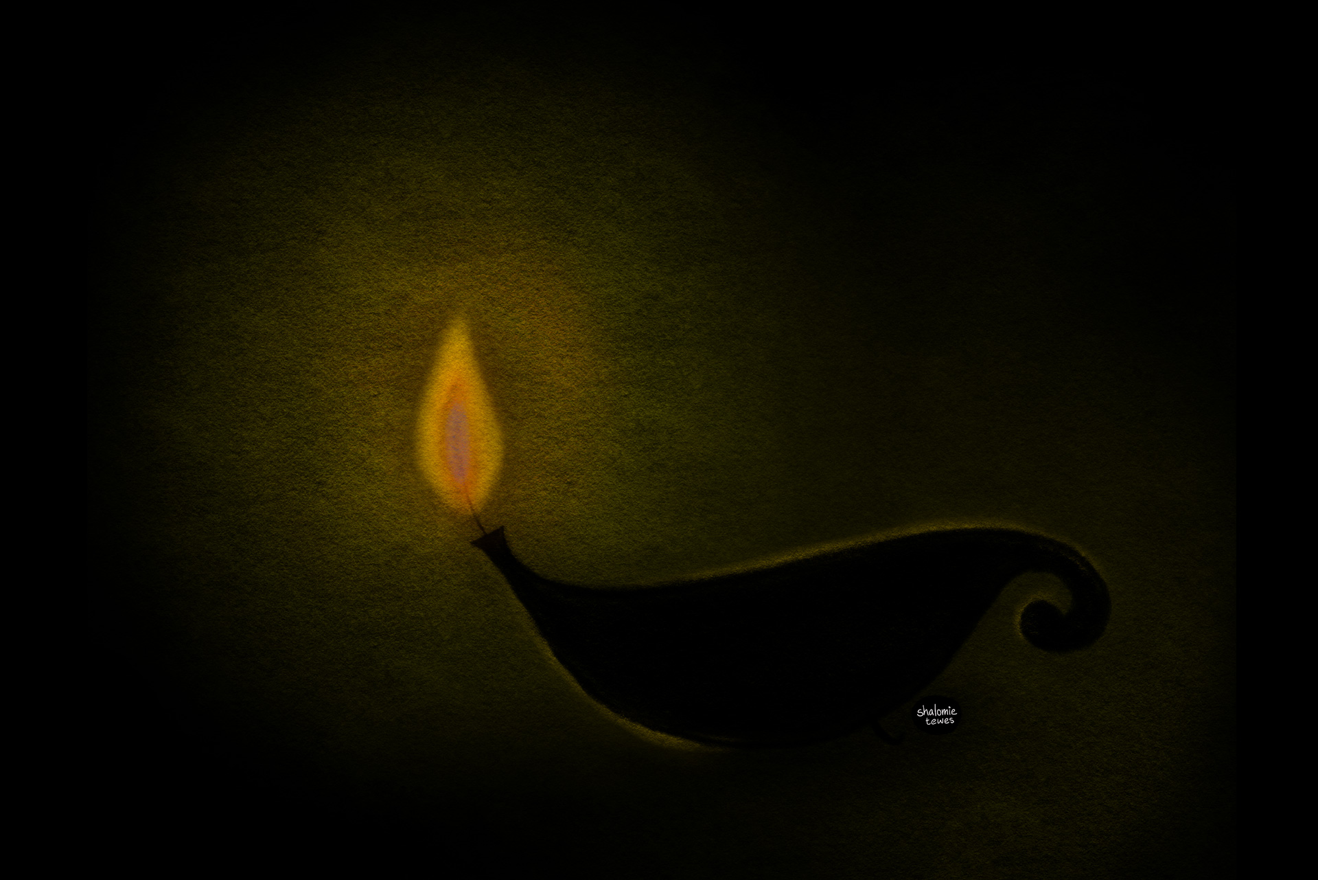 a lamp shining in the darkness - chalk drawing