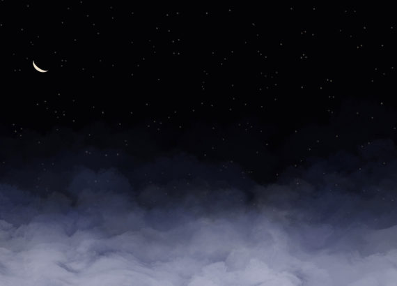 dark night sky with clouds and a crescent moon